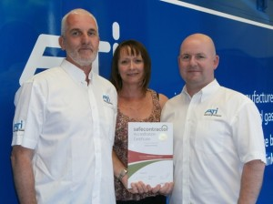 ATi's Europe General Manager Mike Strahand, Office Manager Jill Fieldhouse and Technical Manager Chris McTear with the Safe Contractor Accreditation.